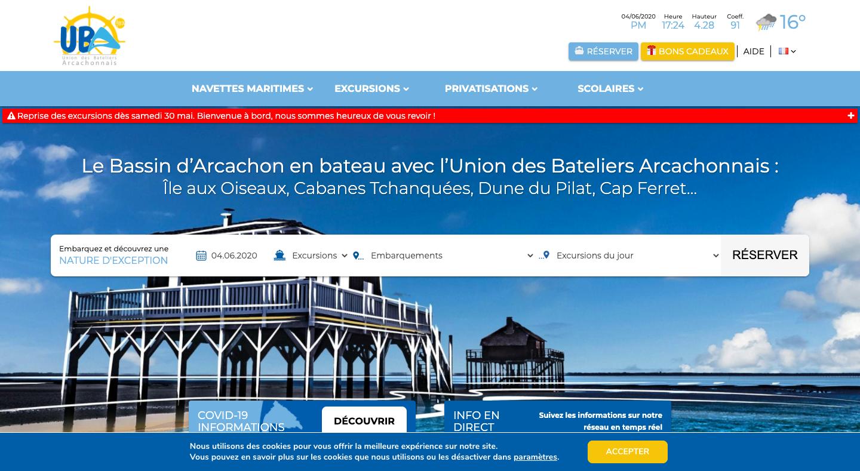 Screen du site Union des Bateliers Arcachonnais