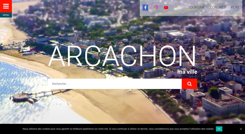 Capture d'écran du site de la ville d'Arcachon