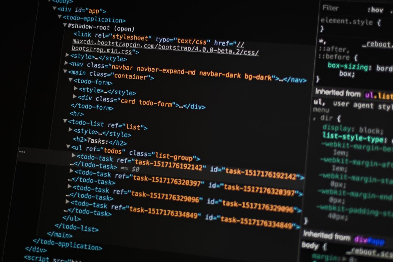 Code HTML sur un écran